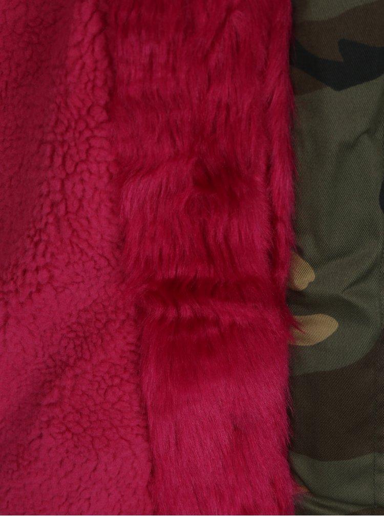 Khaki maskáčová parka s umělým kožíškem Haily´s Ava