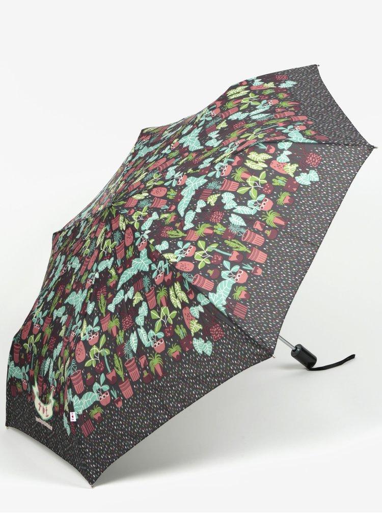 Zeleno-šedý vzorovaný skládací vystřelovací deštník Blutsgeschwister