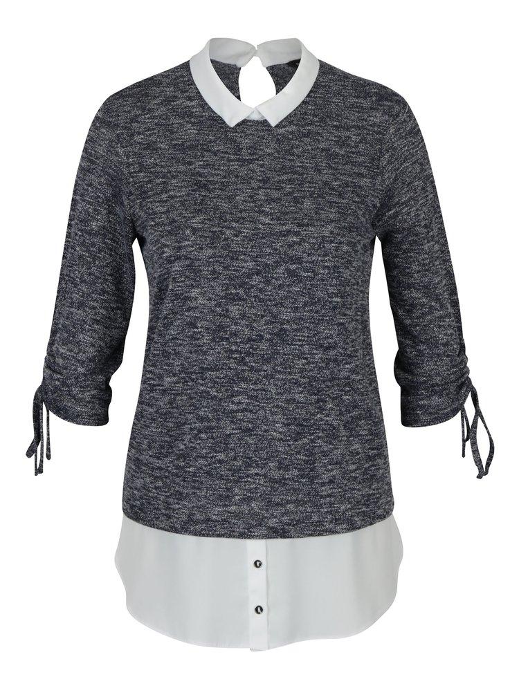 Bluza gri & alb cu extremitati de camasa atasate  Dorothy Perkins