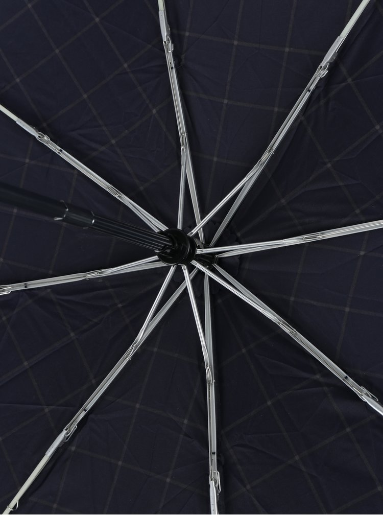 Tmavě modrý kostkovaný vystřelovací deštník Esprit