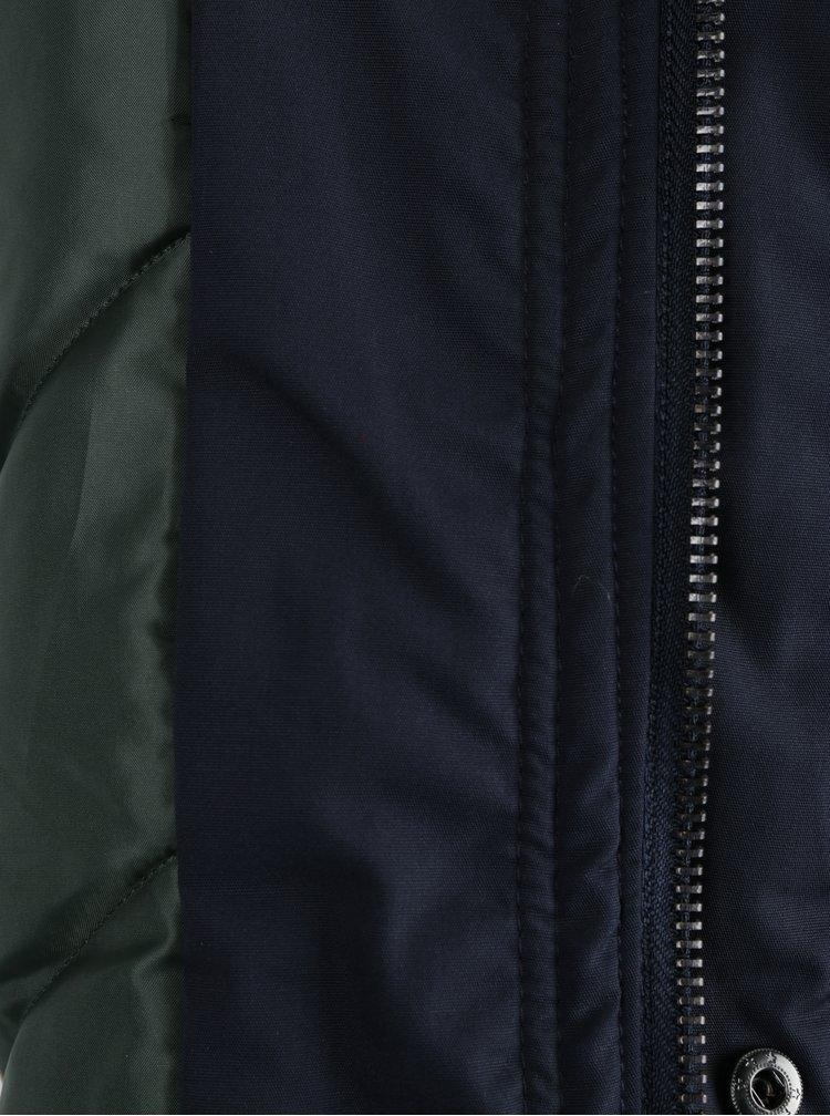 Tmavě modrá zimní parka s umělým kožíškem ONLY & SONS Sigurd