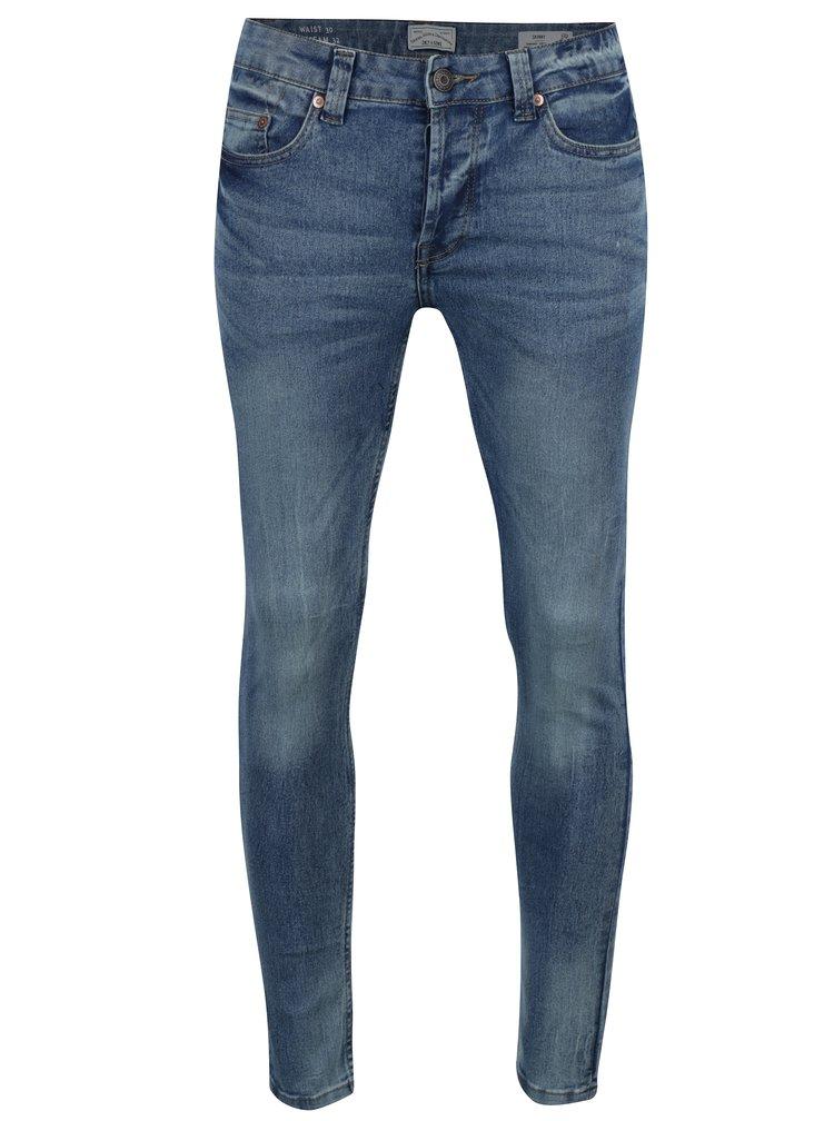 Světle modré skinny džíny s vyšisovaným efektem ONLY & SONS Warp
