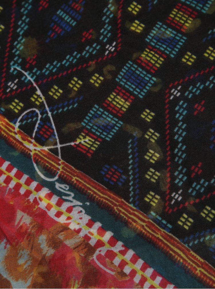 Černo-oranžový vzorovaný šátek Desigual Rectangle Misha