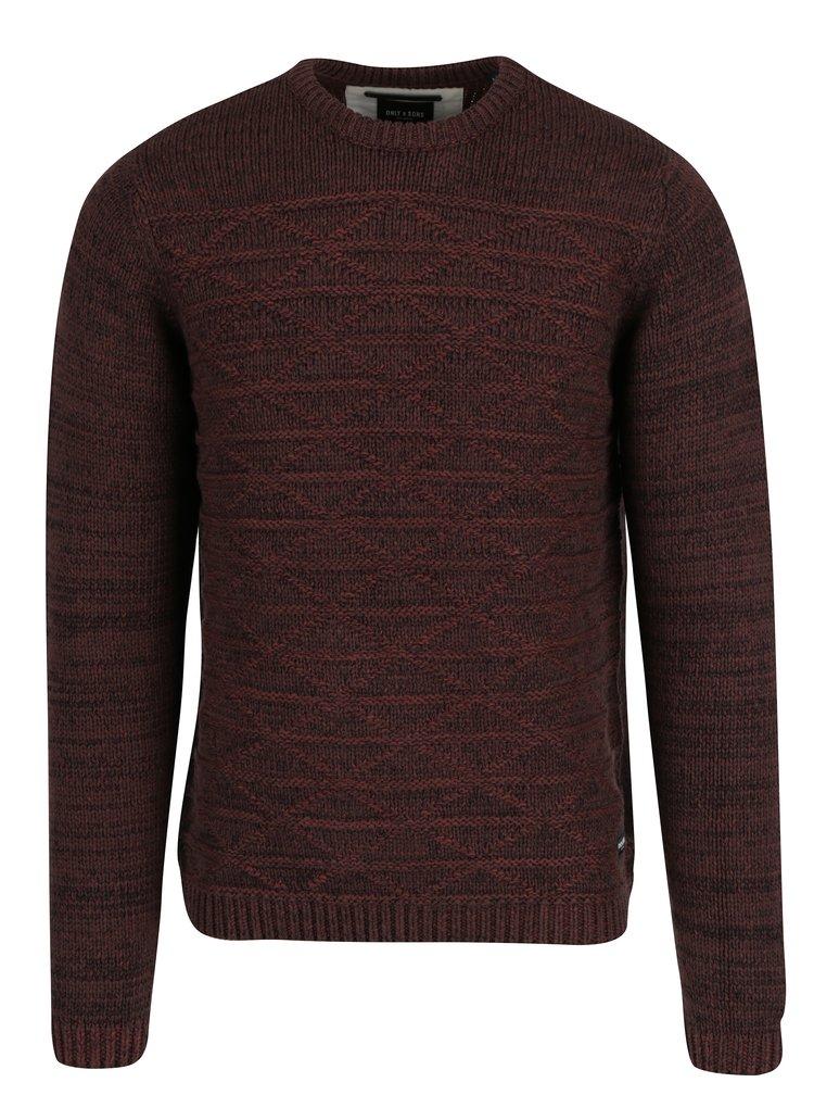 Vínovo-hnědý žíhaný svetr s jemným vzorem ONLY & SONS Tominic