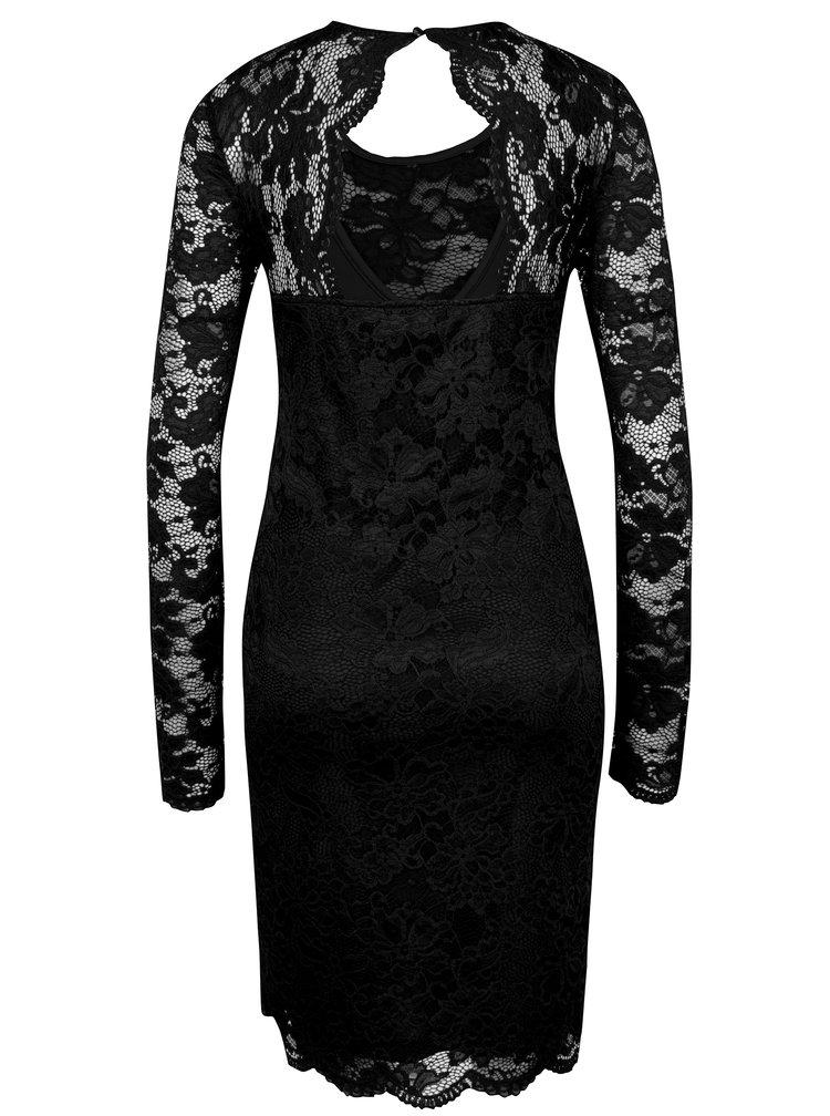 Černé krajkové šaty s průstřihem na zádech VERO MODA Joy