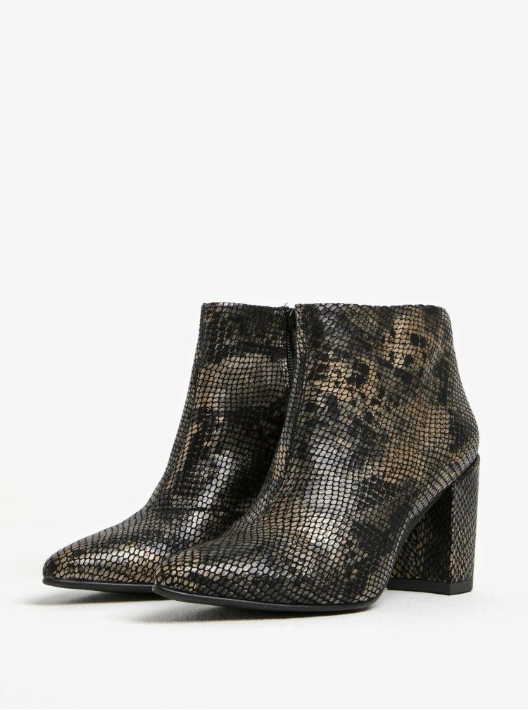Černé dámské kožené kotníkové vzorované boty Vagabond Saida