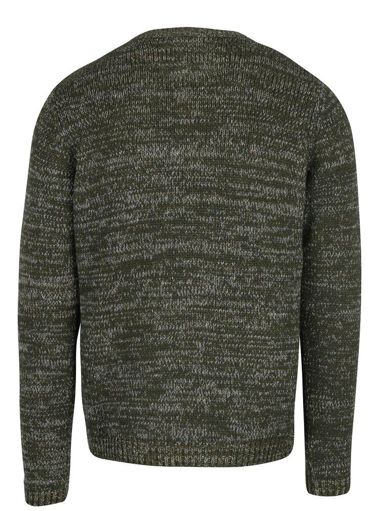 Tmavě zelený žíhaný svetr s jemným vzorem ONLY & SONS Tominic