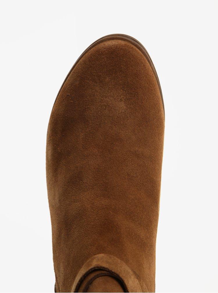 Hnědé dámské semišové kotníkové boty na podpatku Vagabond Lottie
