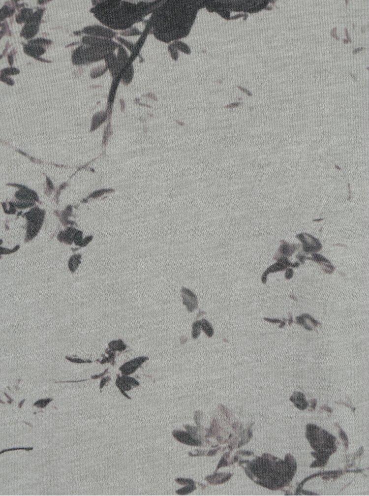 Tricou gri deschis cu print floral ONLY & SONS Matthew