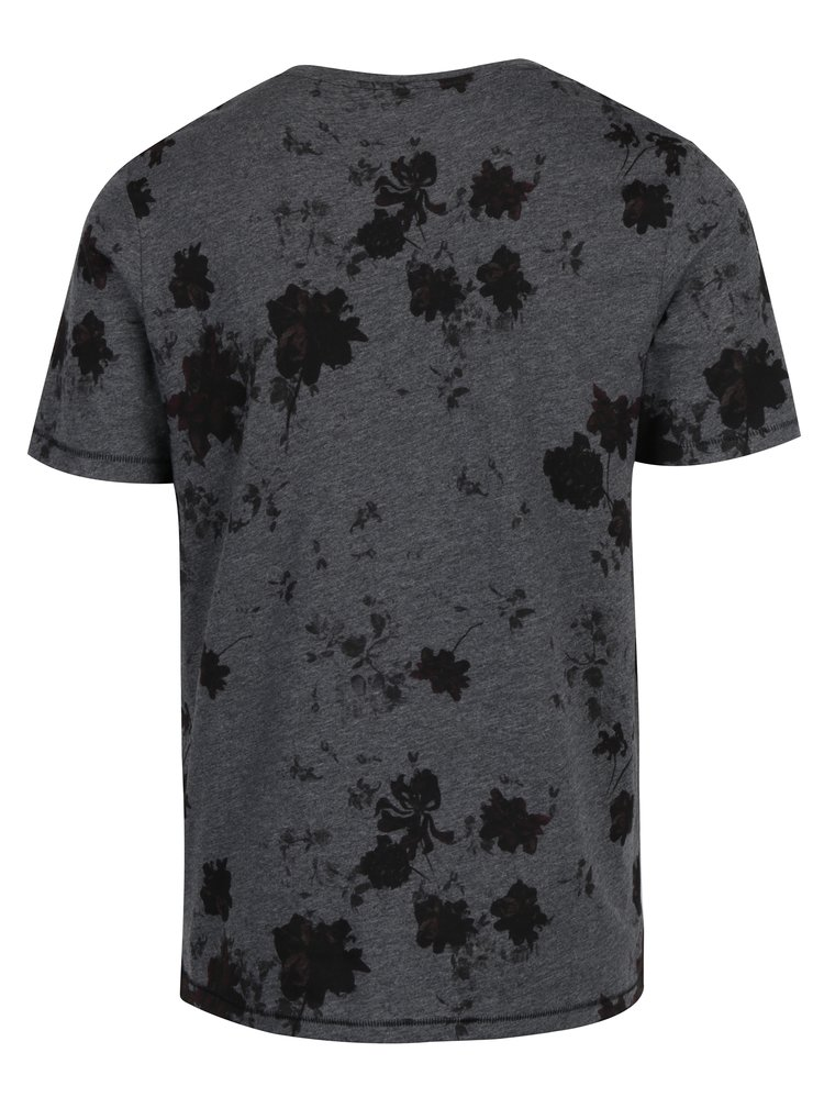 Tricou gri inchis cu print floral ONLY & SONS Matthew