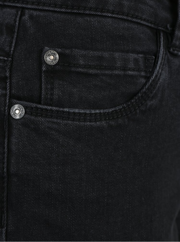Černé zkrácené skinny džíny s roztřepenými lemy ONLY Carmen
