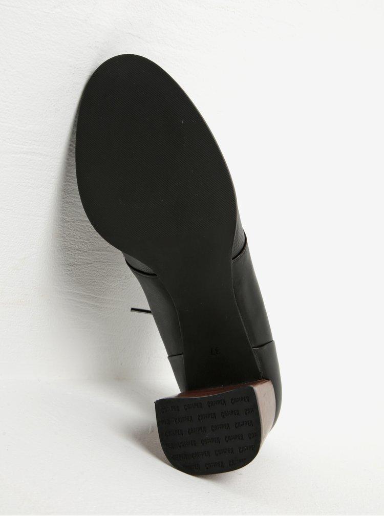 Černé kožené polobotky na vysokém podpatku Camper