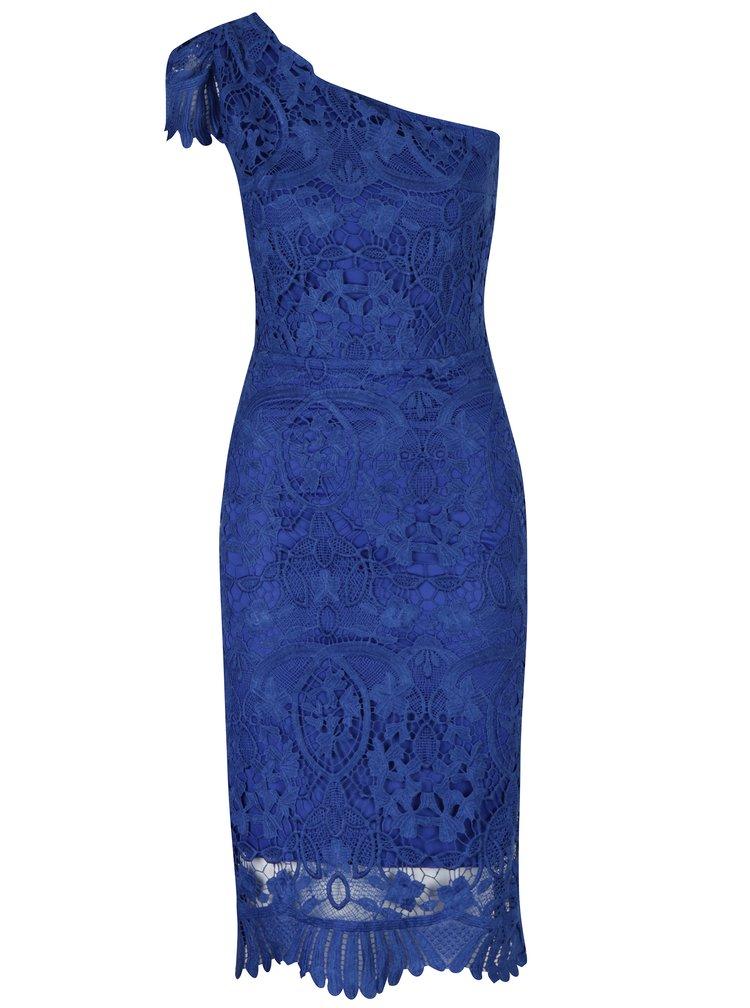 Modré krajkové šaty přes jedno rameno Miss Grey Sofa