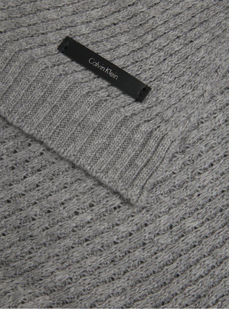 Světle šedá dámská vlněná šála Calvin Klein Twist