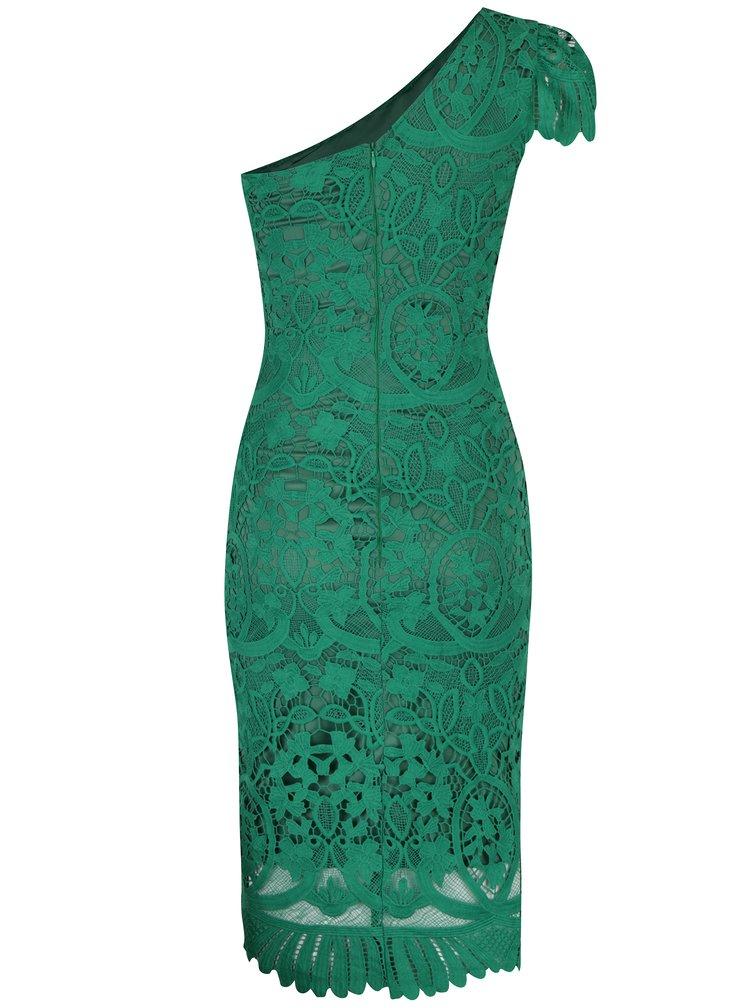 Zelené krajkové šaty přes jedno rameno Miss Grey Sofa