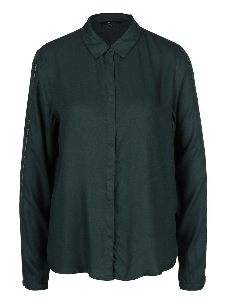 Tmavě zelená košile s krajkou na rukávech VERO MODA Banja