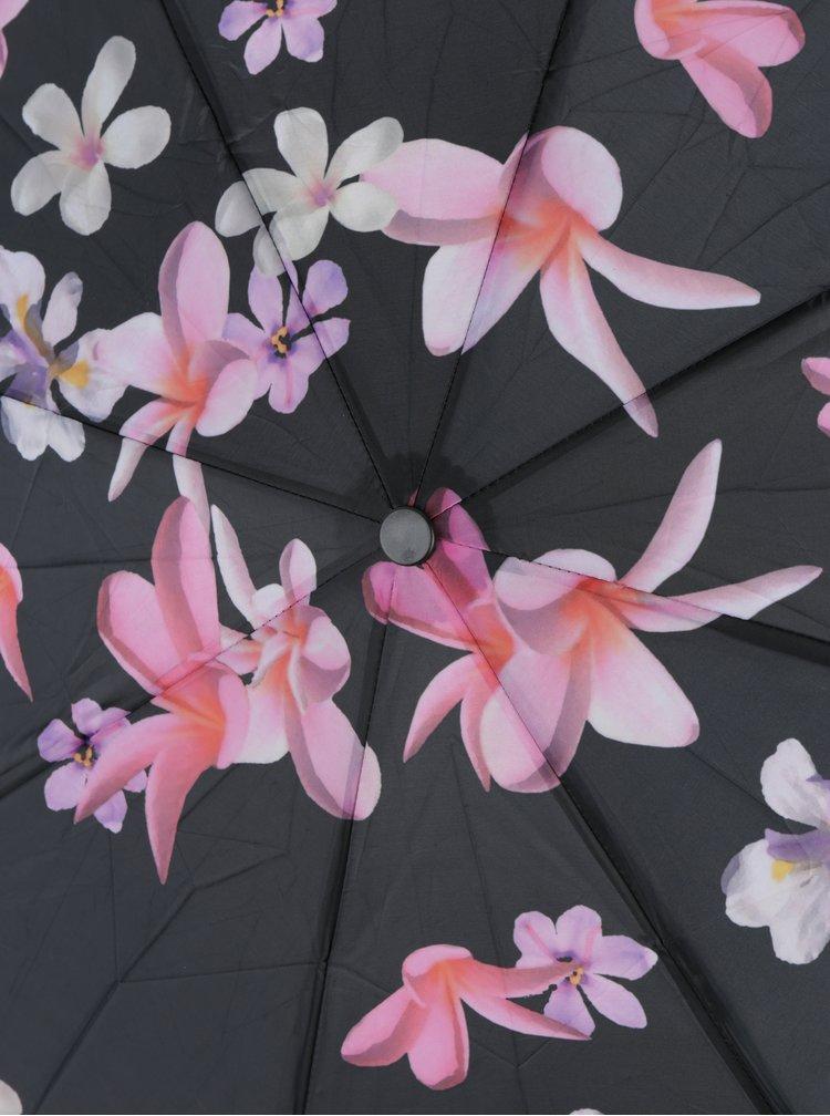 Umbrela telescopica mov cu imprimeu floral pentru femei- Esprit