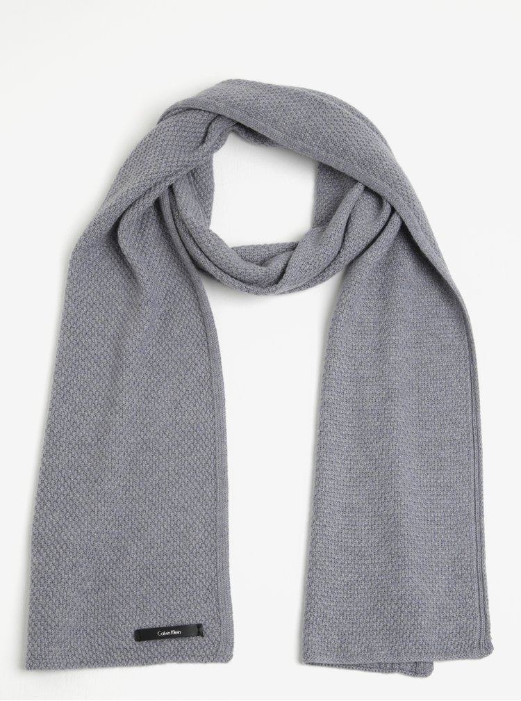 Světle šedá dámská vlněná šála Calvin Klein Emma