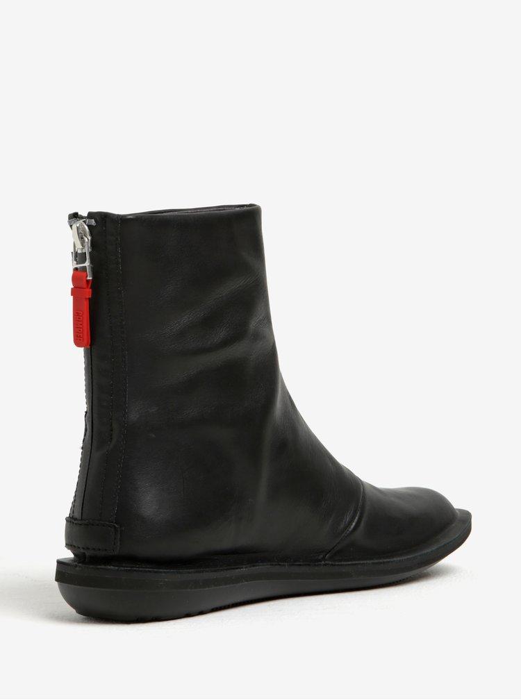 Černé dámské kožené kotníkové boty Camper