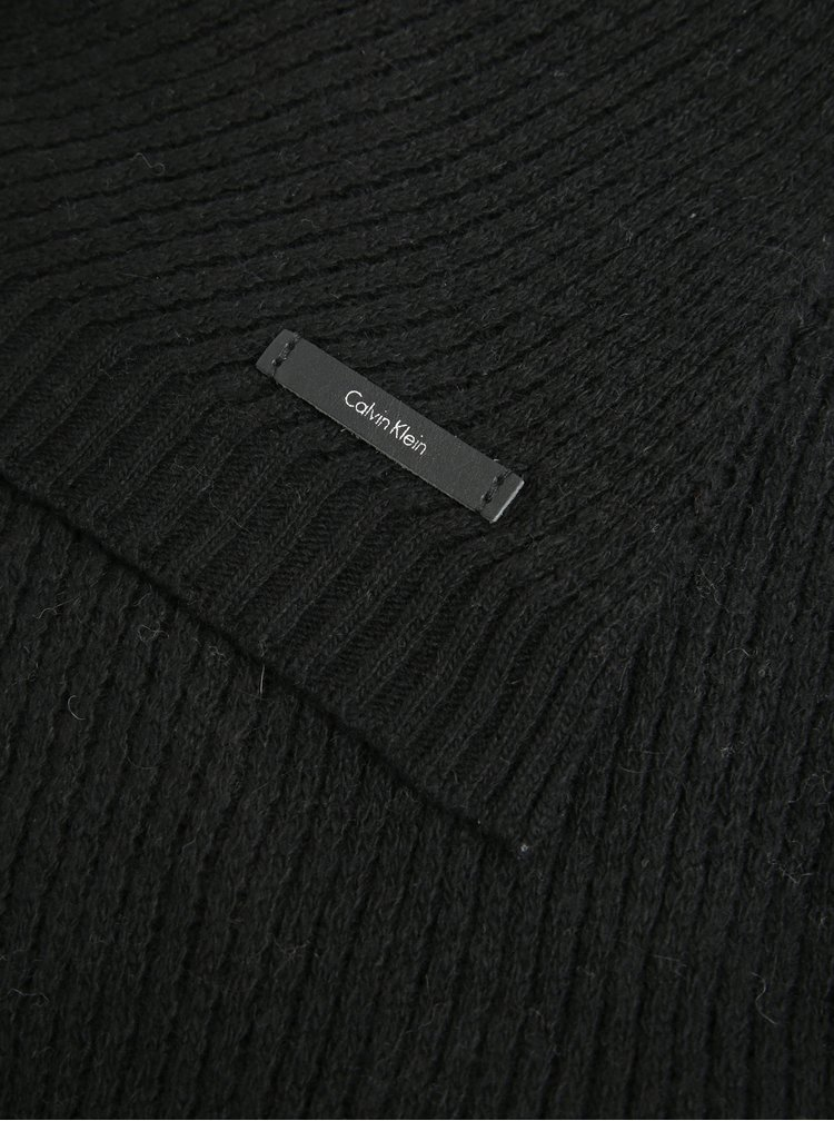 Černá dámská vlněná šála Calvin Klein Twist