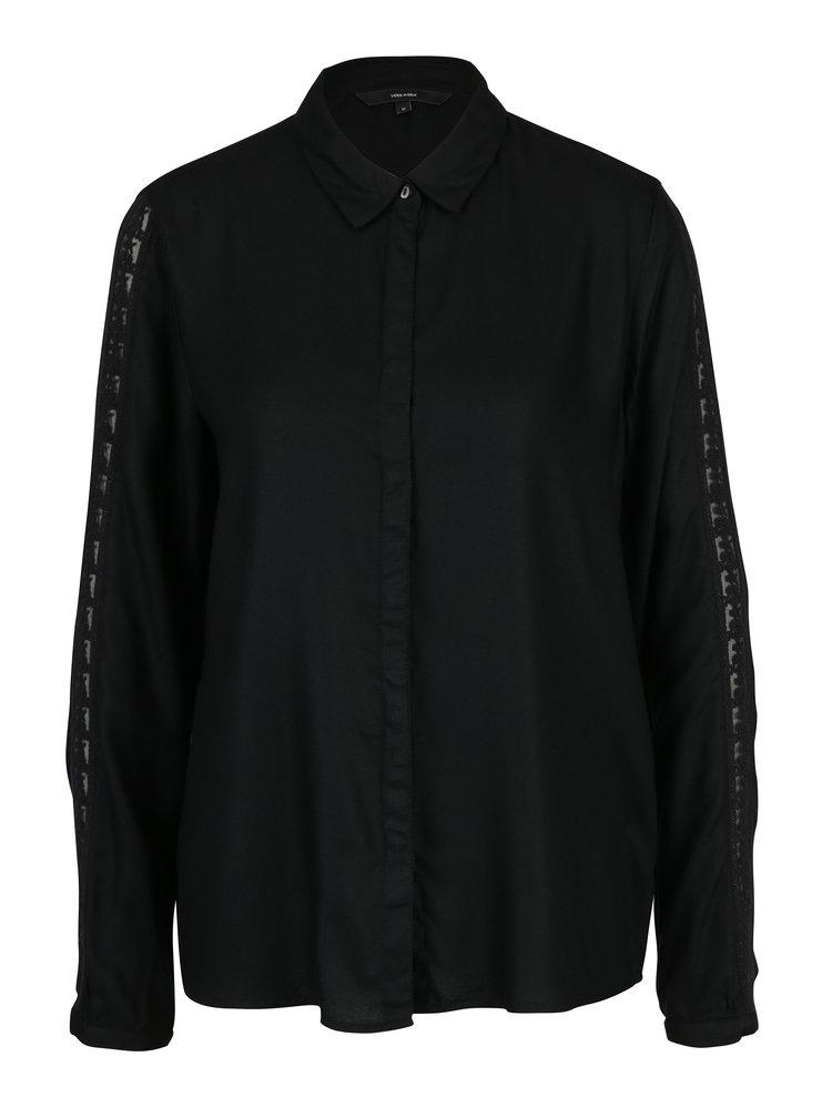 Camasa neagra cu dantela discreta pe maneci - VERO MODA Banja
