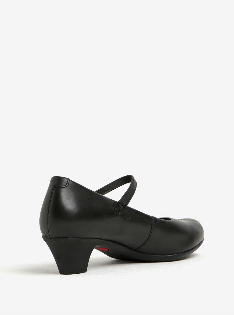 Černé kožené lodičky na nízkém podpatku Camper