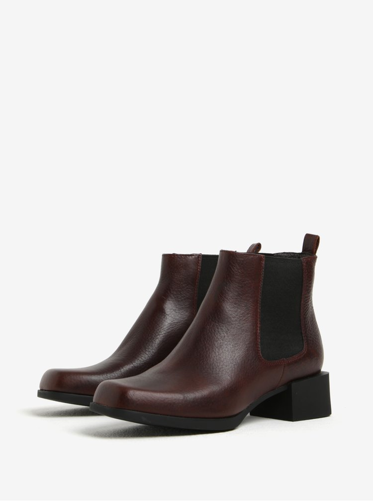 Tmavě hnědé dámské kožené chelsea boty Camper