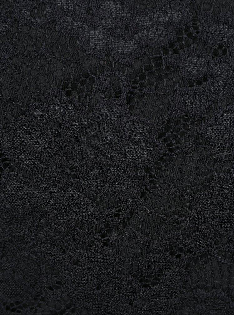 Černý krajkový top s dlouhým rukávem VERO MODA Joy