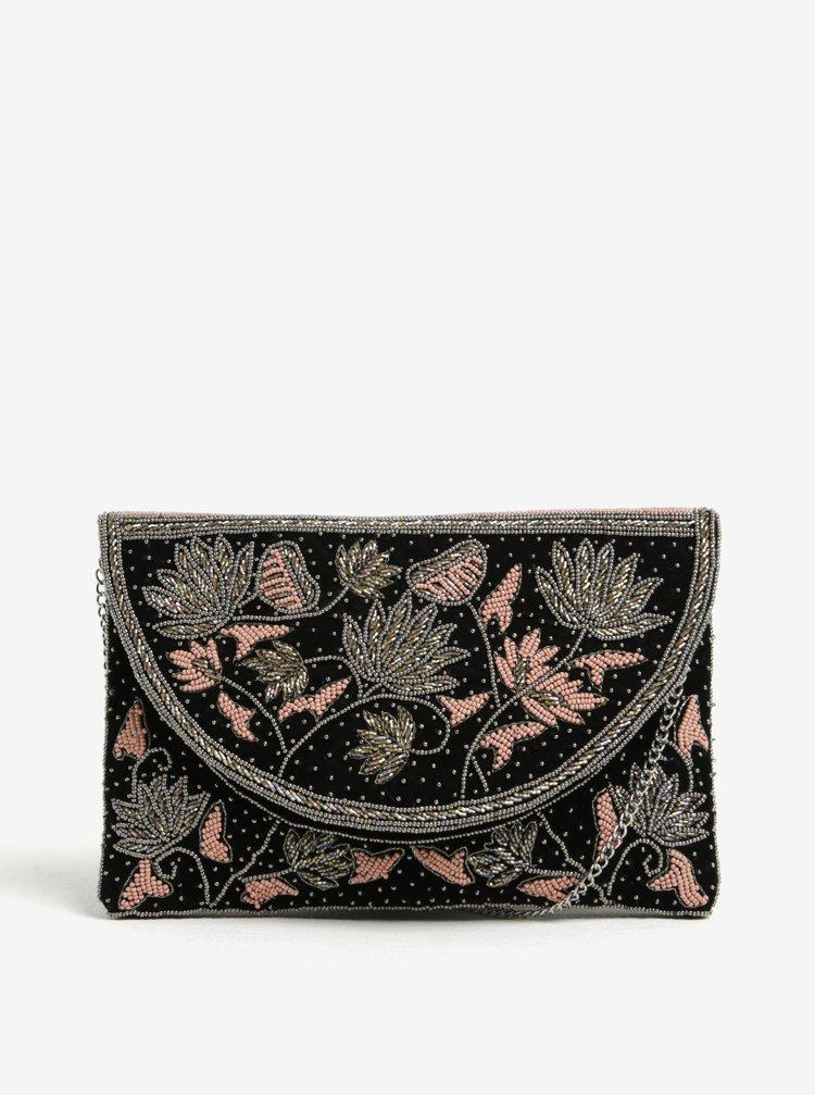 Geanta plic crossbody neagra cu margele decorative Pieces Jivan