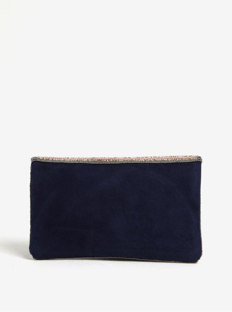 Geanta plic bleumarin din catifea cu margele Pieces Jivan