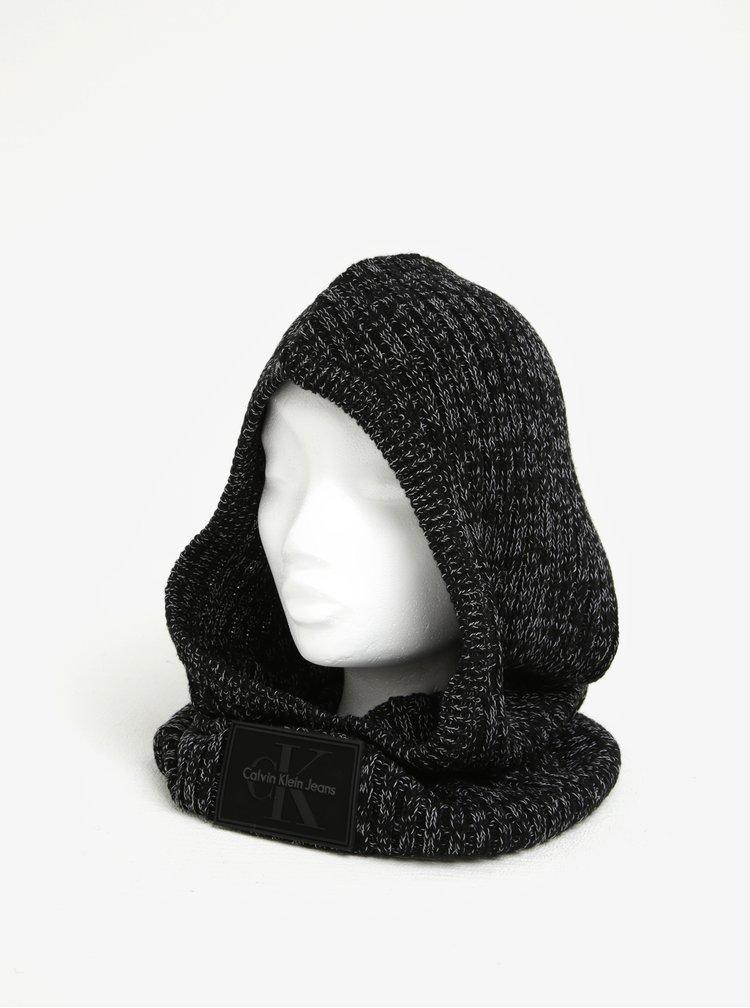Černá dámská žíhaná vlněná kukla Calvin Klein Basic