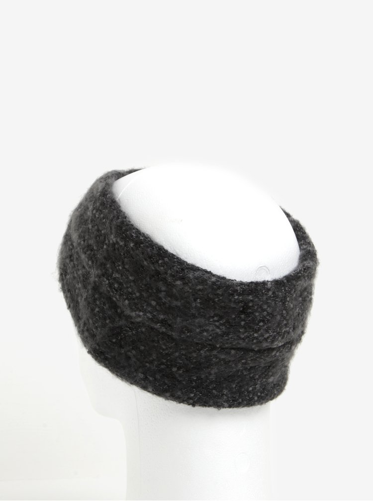 Bentita tricotata gri cu detaliu impletit Pieces Pyron