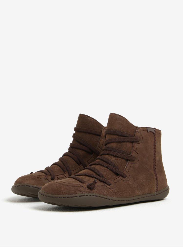 Tmavě hnědé dámské kožené kotníkové boty se šněrováním Camper