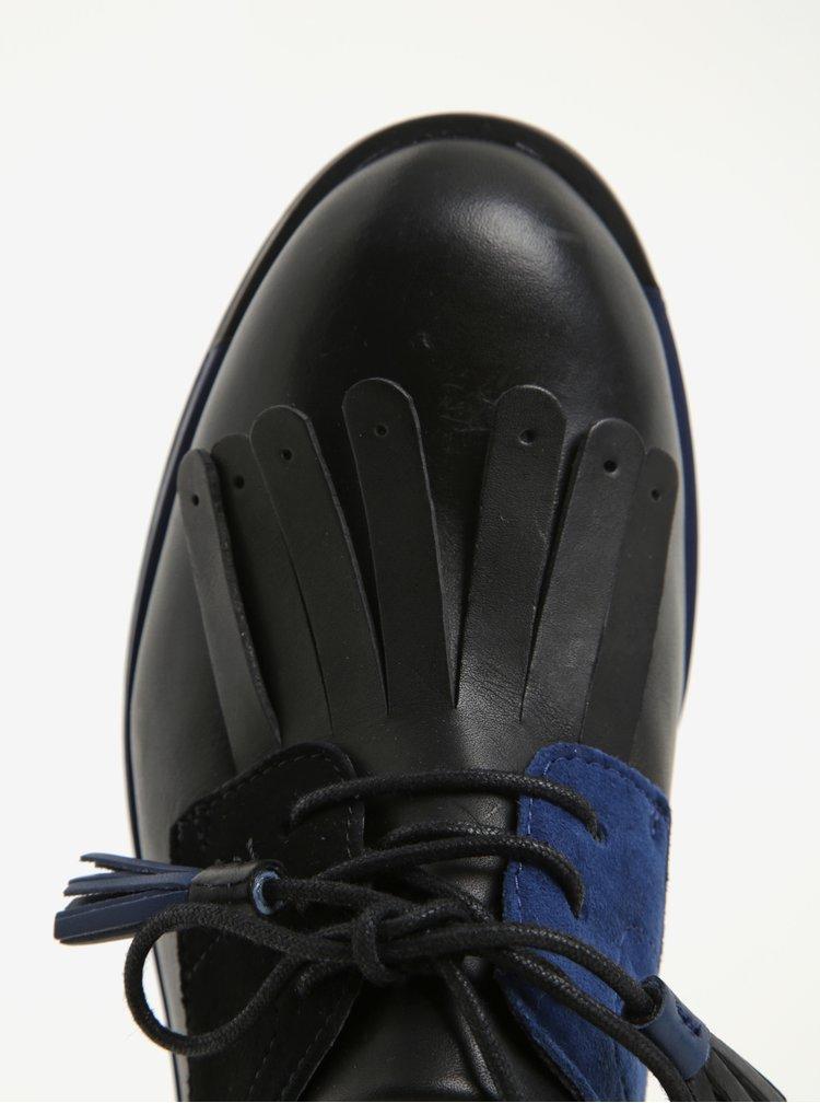 Modro-černé dámské kožené mokasíny se semišovými detaily Camper