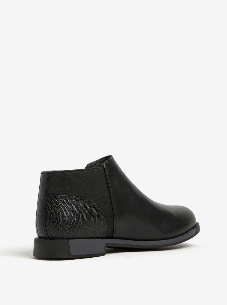 Černé dámské kožené nízké chelsea boty Camper
