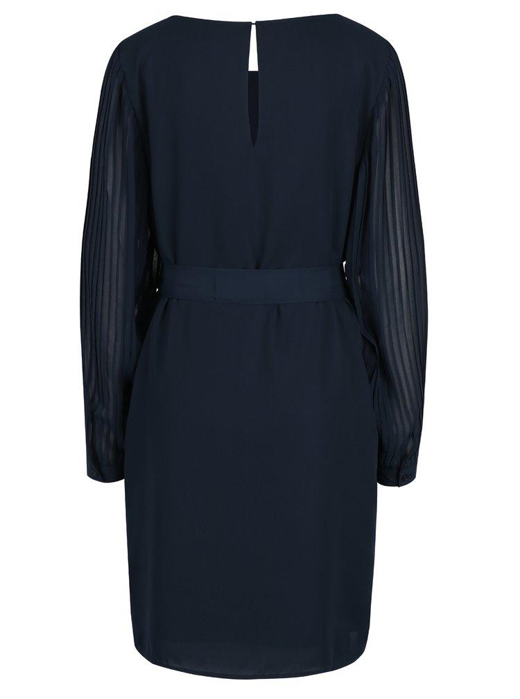 Tmavě modré šaty s průsvitnými plisovanými rukávy Selected Femme Freja