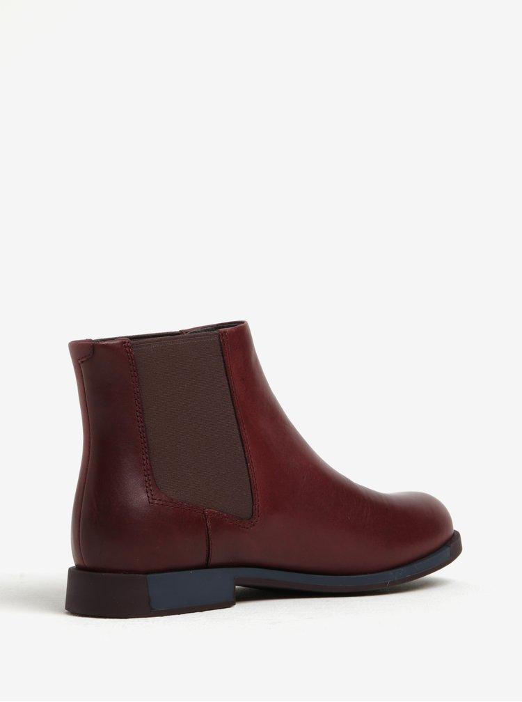 Vínové dámské kožené chelsea boty Camper