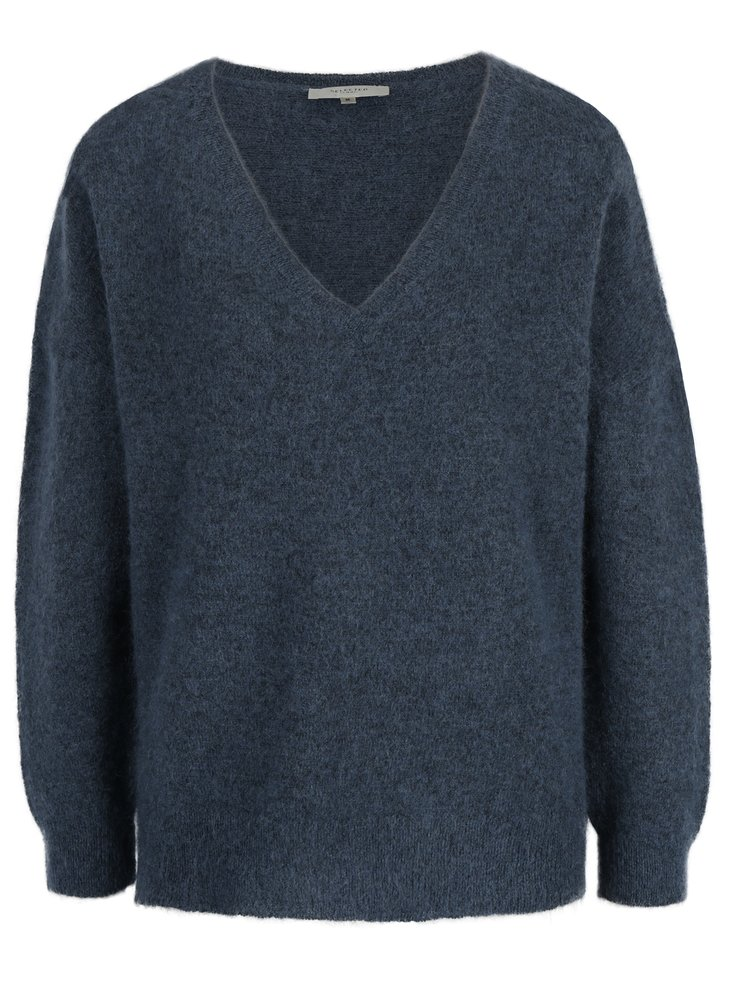 Modrý svetr s příměsí mohéru a vlny Selected Femme Livana