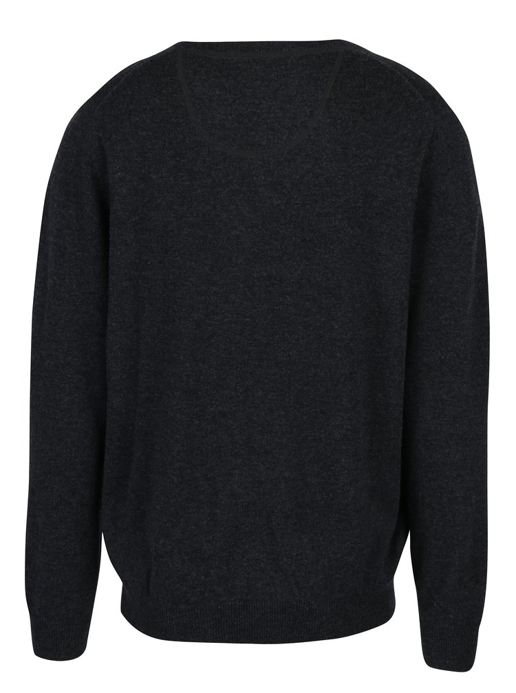 Pulover gri melanj din lana si amestec de casmir -  Fynch-Hatton