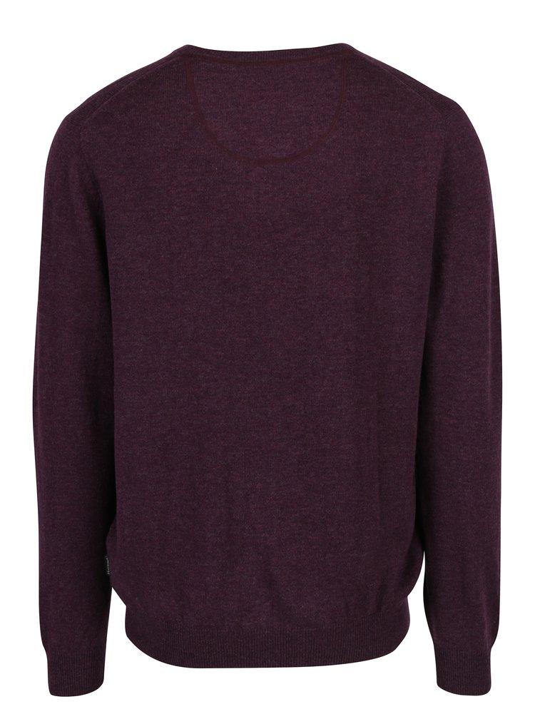 Vínový žíhaný vlněný svetr s příměsí kašmíru Fynch-Hatton