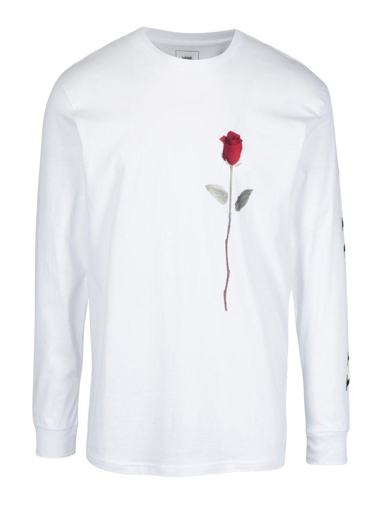 Bluza alba cu print trandafir pentru barbati VANS Rose