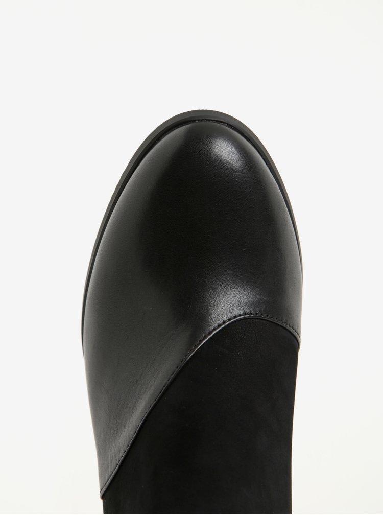 Černé kožené kotníkové boty se semišovými detaily Camper