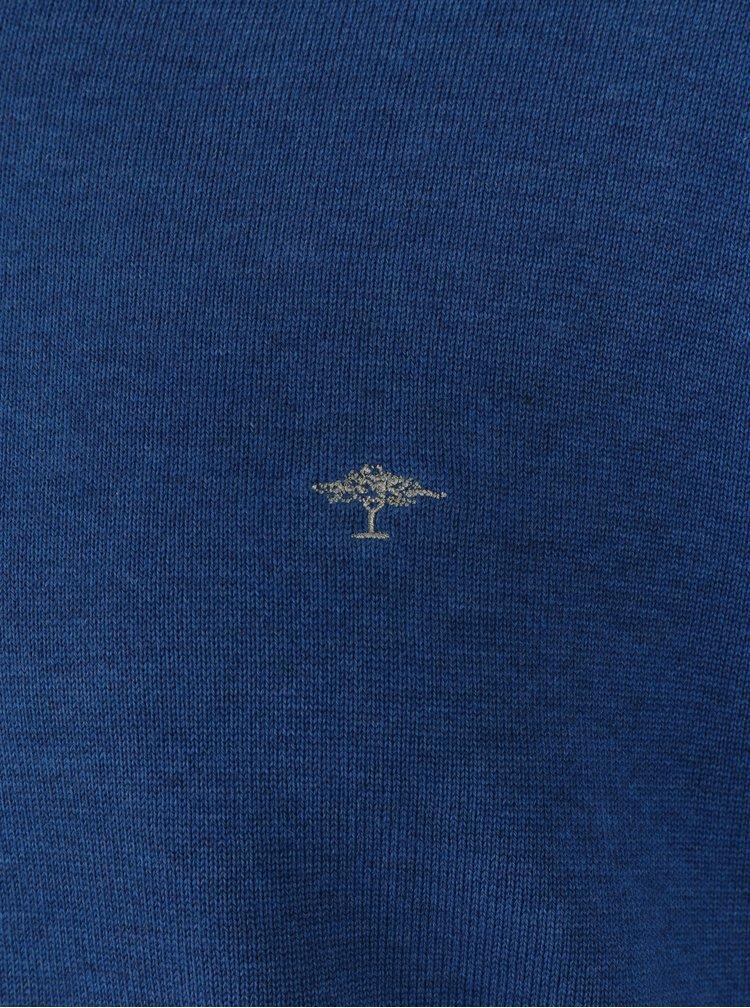 Pulover albastru cu decolteu anchior si logo brodat - Fynch-Hatton