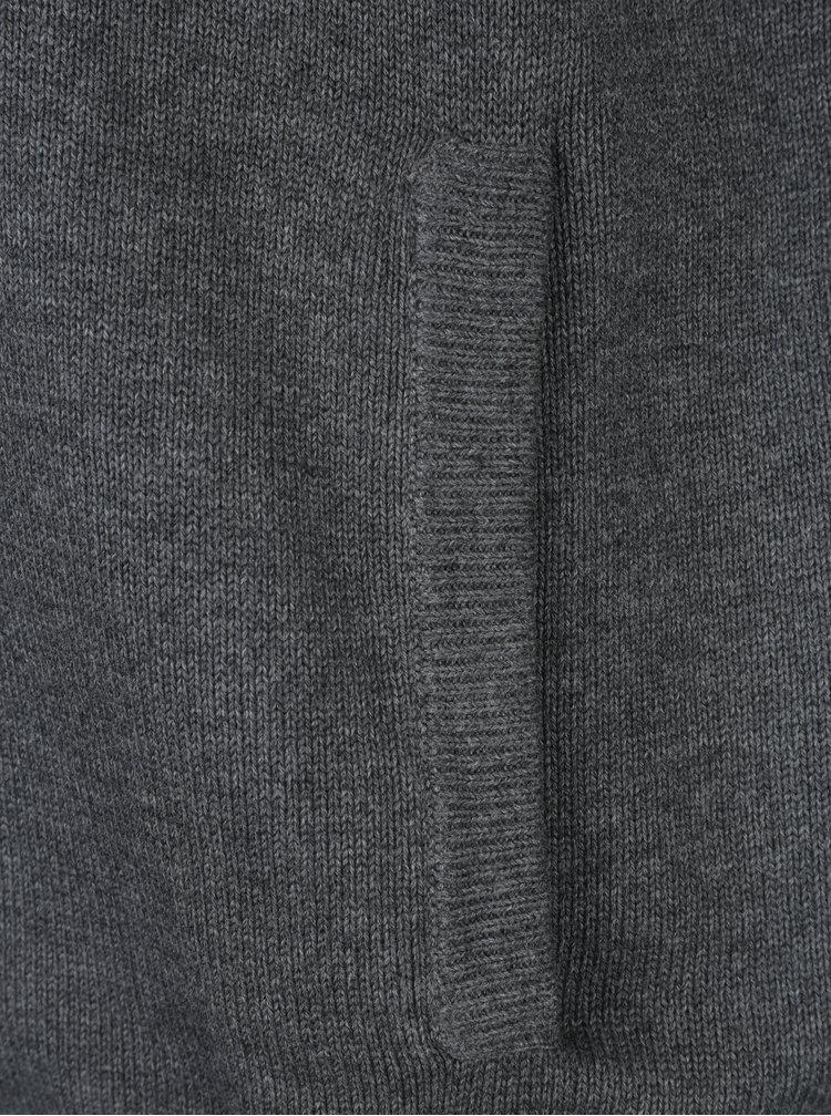 Cardigan gri inchis cu buzunare si fermoar - Fynch-Hatton