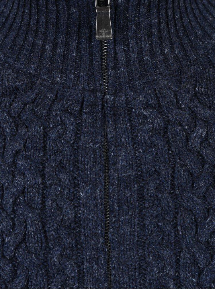 Cardigan tricotat albastru cu amestec din lana  - Fynch-Hatton