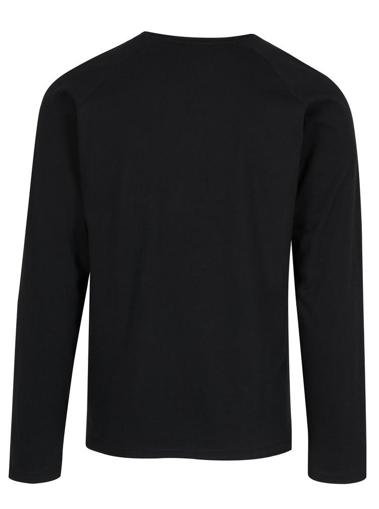 Černé pánské slim fit tričko s dlouhým rukávem s.Oliver