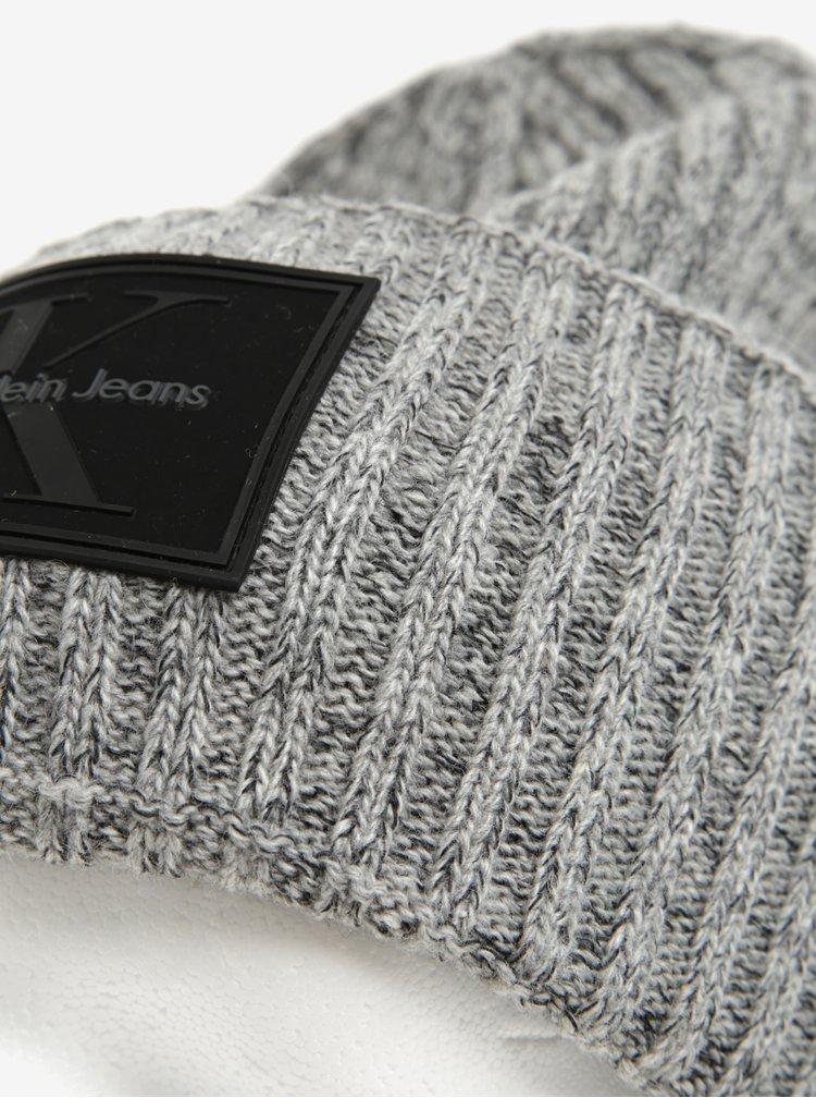 Šedá dámská žíhaná vlněná čepice Calvin Klein