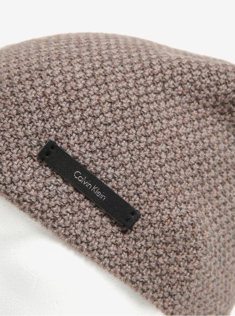 Béžová dámská vlněná čepice Calvin Klein Emma