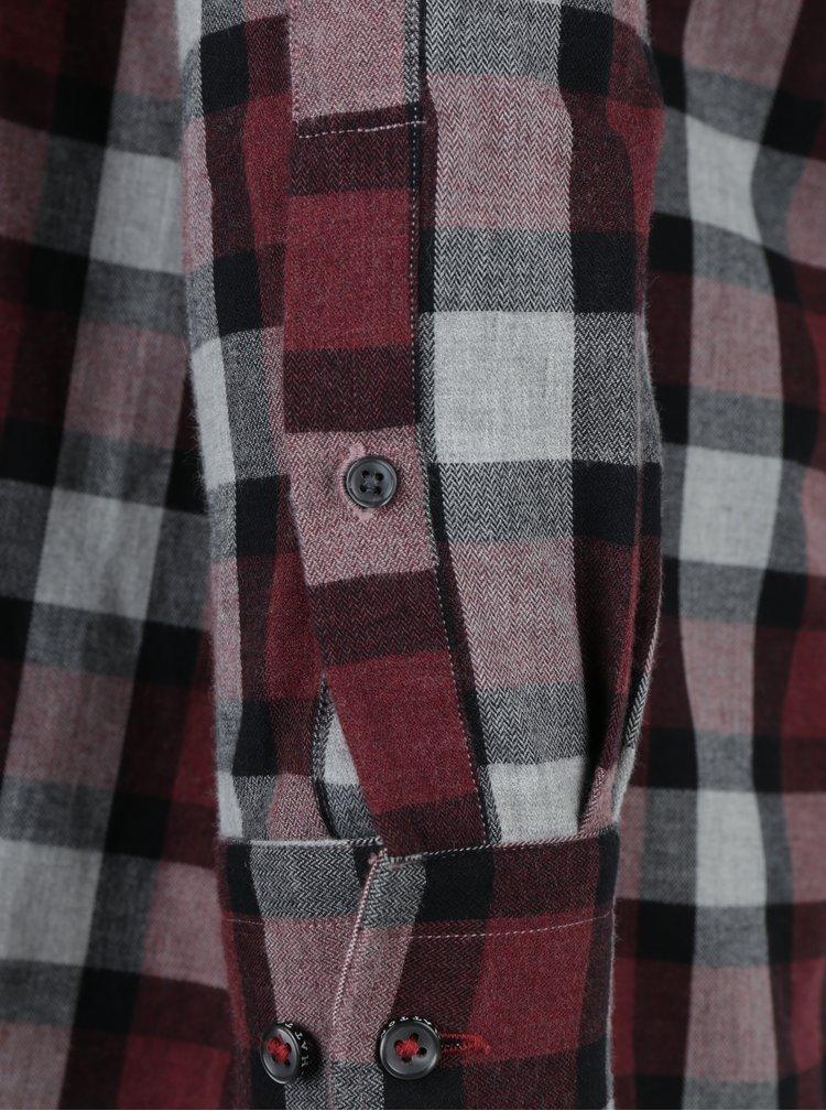Camasa casual in carouri bordo & gri - Fynch-Hatton