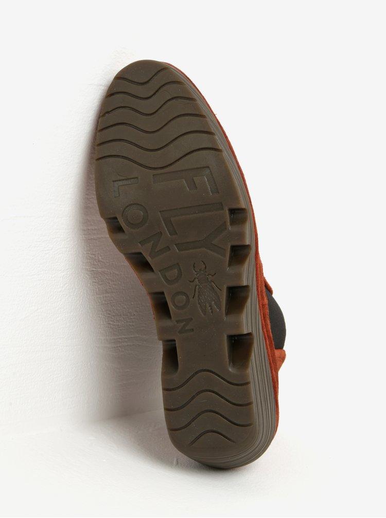 Cihlové dámské semišové chelsea boty na klínku Fly London